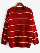 Striped Drop Shoulder Loose Sweater