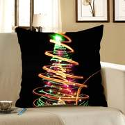 Colorful Lighting Christmas Tree Pattern Pillow Case