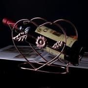 Retro Heart Shape Design Hollow Out Iron Crafts Wine Rack Craft Ornament