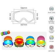 Children Skiing Snowboarding Skating Goggles UV Protection Anti-fog Wide Spherical PC Lens Anti-slip Strap Helmet Compatible