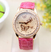 10 color Hot selling leather strap butterfly watches women rhinestone watches for women dress watches quartz watch 1pcs/lot