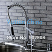 Hot Selling,Free Shipping pull out kitchen faucet.Solid Brass Thicken Chrome Spring kitchen mixer faucets.kitchen tap.