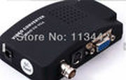 Free shipping high quality  RCA Video S-video BNC to VGA Converter Adapter Box support 1080P Video Converter Black