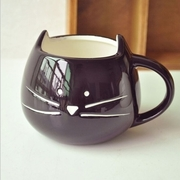 Black and white cat ceramic cup mug ceramic cup ceramic crafts creative cup milk cup - Black