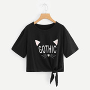 Knot Hem Graphic T-shirt